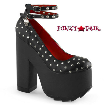 Demonia Shoes | Cramps-06, Platform Shoes with Ankle Straps