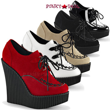 Demonia | Creeper-302, 5.25 Inch wedge creeper Shoes Color Available Black Vegan Suede, Black-White Patent, Cream Vegan Suede, Red Vegan Suede, Wht-Blk Vegan Leather. Size 6 - 11