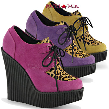 Creeper-304, 5.25 Inch Wedge Creeper with Leopard Print Available  Color Hot Pink Vegan Suede-Leopard Printed Pony Hair, Mustard Vegan Suede-Leopard Printed Ponly Hair, Purple Vegan Suede-Leopard Printed Pony Hair. Size 6 thru 11
