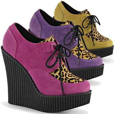 Demonia | Women Creeper-304, 5.25 Inch Wedge Creeper with Leopard Print Color Mustard Vegan Suede-Leopard Printed Ponly Hair
