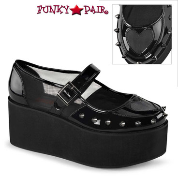 Demonia Shoes | Grip-01, Maryjane with Heart Cutout