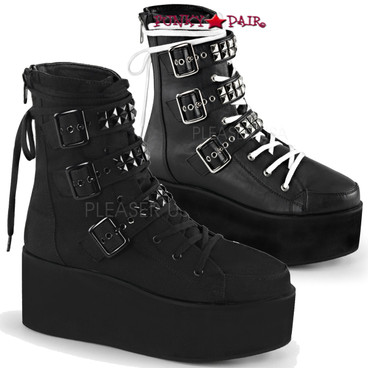 Demonia Grip-101, Ankle Boot Multi Buckle Straps with Pyramid Studs
