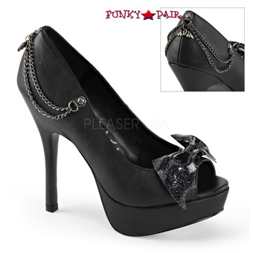 Demonia | Pixie-16, Glitter Bat Bow Pump