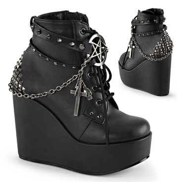 Poison-101, 5 Inch wedge Platform Lace up Ankle Boots by Demonia Women's