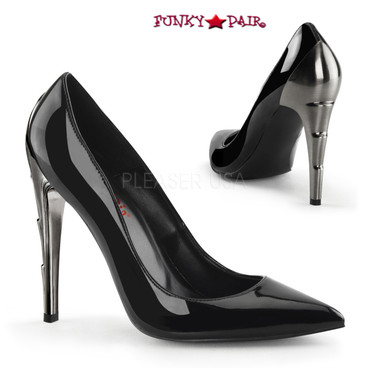 Demonia | Voltage-01, Black Chrome Lightning Bolt Heel Pump