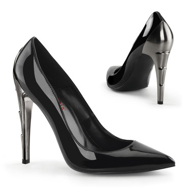 Demonia | Voltage-01, Chrome Lightning Bolt Heel Pump
