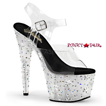 Pleaser   Starbloom-708, 7 inch Ankle Strap Sandal with Stars and Flowers Design