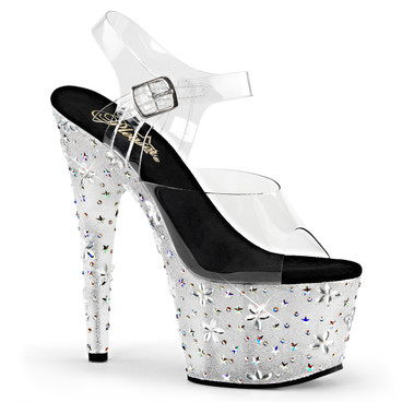 Starbloom-708, 7 inch Ankle Strap Sandal with Stars and Flowers Design Pleaser Shoes