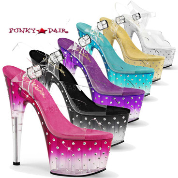 Stripper Shoes | Stardust-708T, Sandal with Rhinestones and Tinted color available: Teal, Purple, Gold, Silver, Black, Pink @Funkypair.com