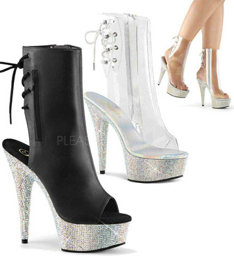 Bejeweled-1018DM-6, 6 inch heel rhinestones peep toe ankle boots by Pleaser Shoes