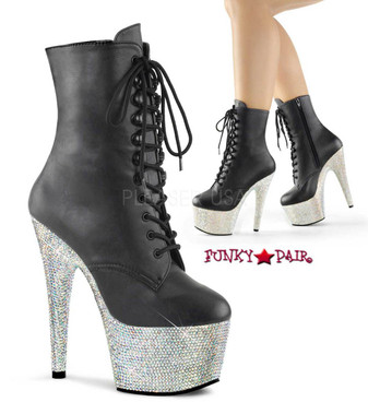 Stripper Boots Bejeweled-1020-7, 7 Inch rhinestones platform ankle boots