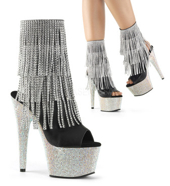 Bejeweled-1024RSF-7, 7 Inch Peep Toe  with Fringe Rhinestones Ankle Boots