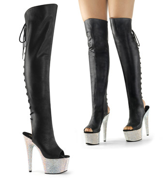 Pleaser Boots | Bejeweled-3019DM-7,  7 Inch Heel Peep Toe Thigh High Boots with Rhinestones