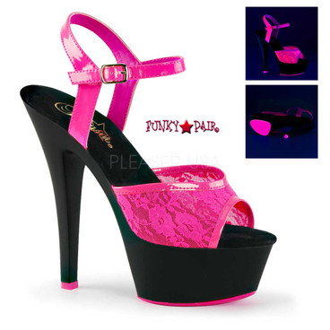 Kiss-209ML, 6 Inch High Heel Platform with UV lace color neon pink