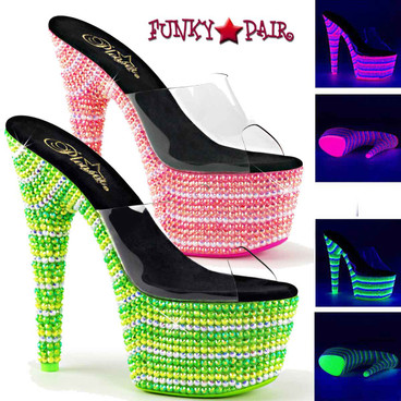 Pleaser | Bejeweled-701UV, 7 Inch UV Reactive Stripper Shoes