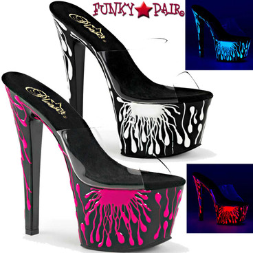 Pleaser | Sky-301-5, 7 Inch UV reactive Blood Spat Pattern