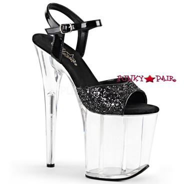 Pleaser Shoes Flamingo-810, 8 Inch Heel Ankle Strap Sandal with Glitters