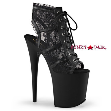 Stripper Shoes Flamingo-896LC, 8 Inch Heel Peep Toe Lace Ankle Boots