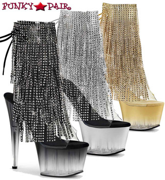 Adore-1017RSFT, 7 Inch Stripper Fringe Ankle Boots by Pleaser USA