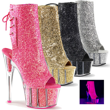 Adore-1018G, 7 Inch High Heel Open Toe Glitters Boots by Pleaser USA