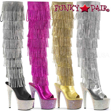 Pleaser | Bejeweled-3019RSF-7, Fringe Thigh High Boots | FunkyPair.com