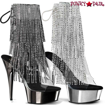 Delight-1017RSF, 6 Inch Open Toe with Fringe Ankle Boots by Pleaser USA