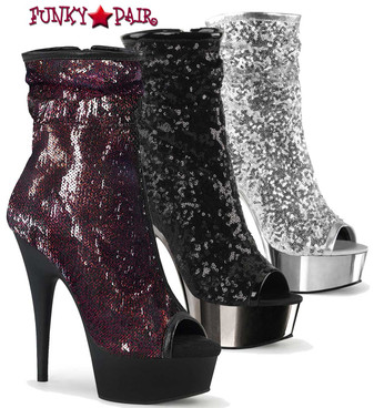Pleaser | Delight-1008SQ, 6 Inch Sequin Peep Toe Ankle Boots