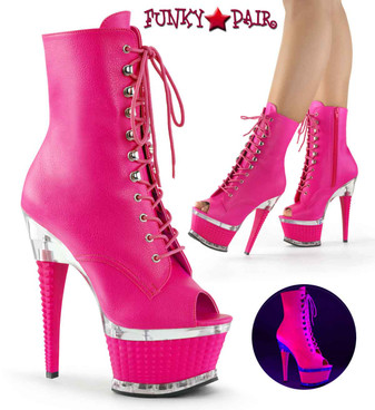 Illusion-1021, Hot Pink Platform Ankle Peep Toe Ankle Boots