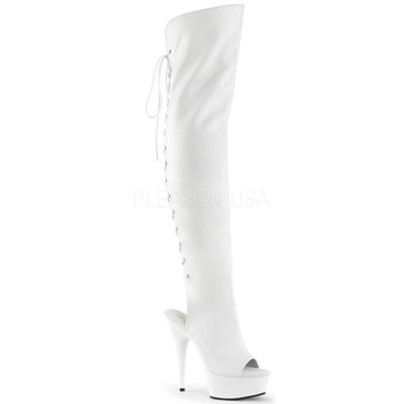 Pleaser | Illusion-3019, Textured Platform Thigh High Peep Toe Boots