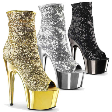Exotic Dancer Sequin Ankle Boots Adore-1008SQ