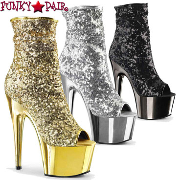 Pleaser | Adore-1008SQ, Sequin Ankle Boots