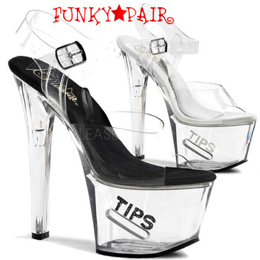 Pleaser | TIP JAR-708-5, Platform Clear Stripper Shoes High Heels