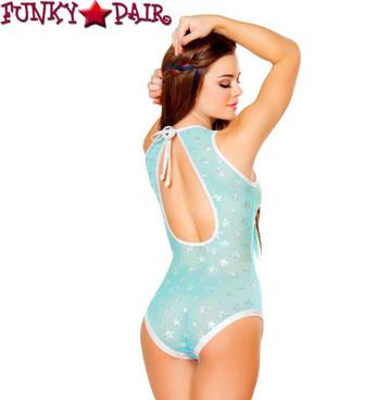 J. Valentine | FF460, Star Mesh Bodysuit Color aqua back view