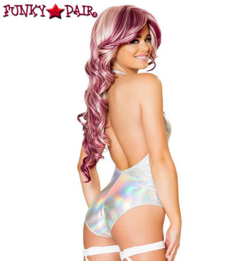 J. Valentine | JV-FF635, Rave Silver Hologram High-Neck Romper back view