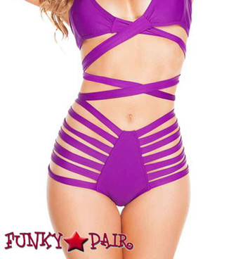 J. Valentine | RB246, Raver Solid High Waist Strappy Shorts color purple