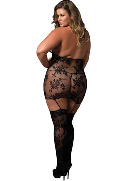 LA89172Q, Lace Cage Strap Suspender Bodystocking