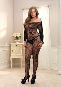 LA89106Q, Spiral Off The Shoulder Bodystocking
