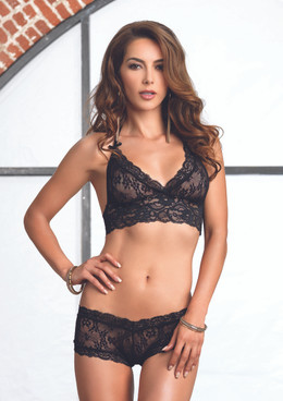 LA81504 Lace halter bra and G-string booty short color black
