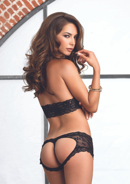 LA81504 Lace halter bra and G-string booty short color black back view