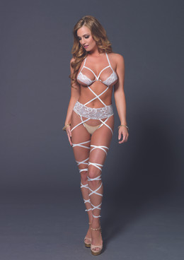 LA-89148, Lace Cage Wrap BodyStocking