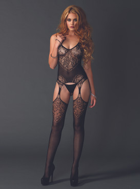 LA89175, Lace Jacquard Net Bodystocking