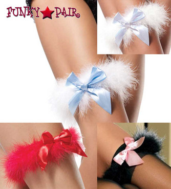 Leg Avenue | LA-2358, Marabou Garter color available: White, Red, Black/Pink, White/Light Blue