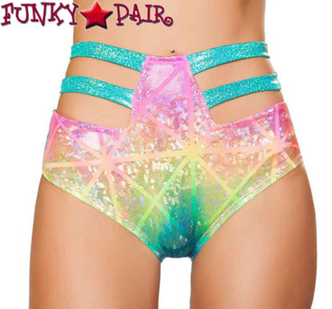 Roma | SH3256, Rave High-Waisted Strapped Shorts Color Multi laser Hologram front view