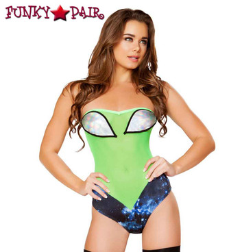 Roma | R- 3274, Sheer Rave Alien Romper front view