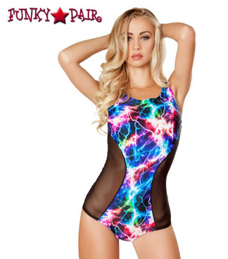 Rave Geometric Two Tone Romper | Roma R-3275 Color electric