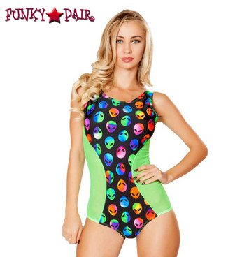 Rave Geometric Two Tone Romper | Roma R-3275 Color Alien