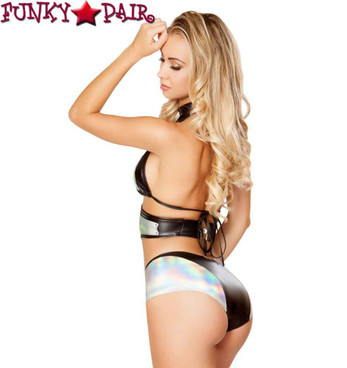 Roma | R-3277, Rave Outfit Foil Short Set back view