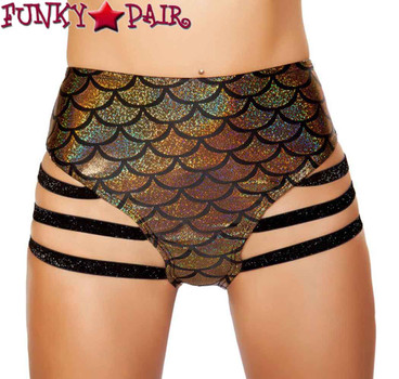Roma | SH3281, Rave Mermaid High Strapped Shorts Color gold front view
