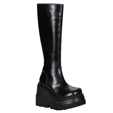 SHAKER-100, Goth Wedge Platform Knee High Boot By Demonia