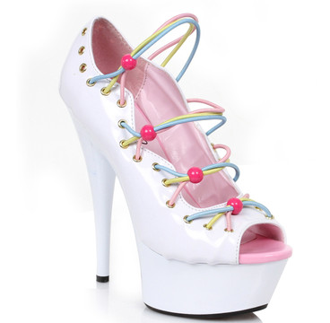 609-Unicorn, 6 Inch Peep Toe Pump with Multi-Color Straps
